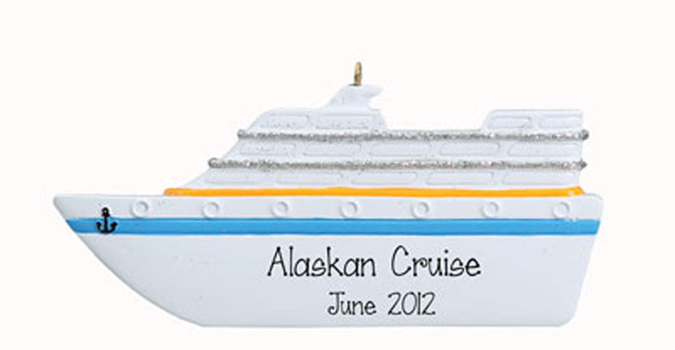 cruise boat, Christmas personalized Ornament