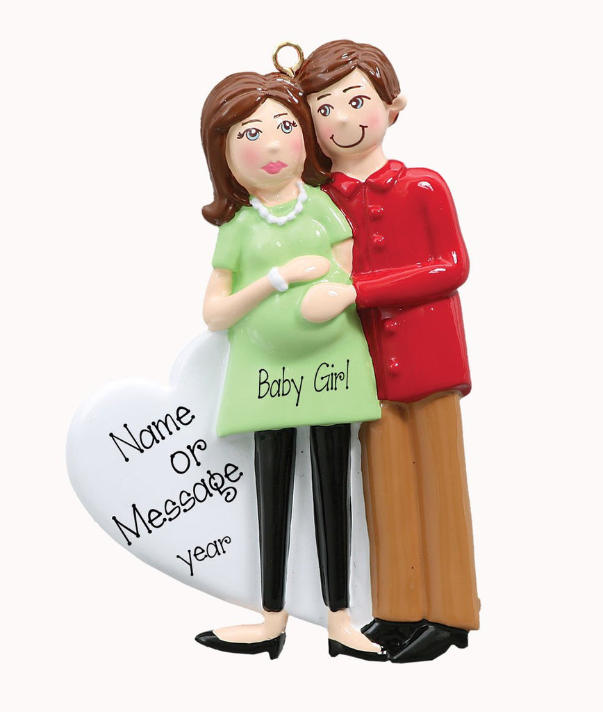 Brunette Expecting Family-Ornament