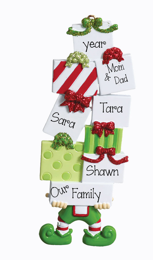 Elf with Presents Personalized Ornaments