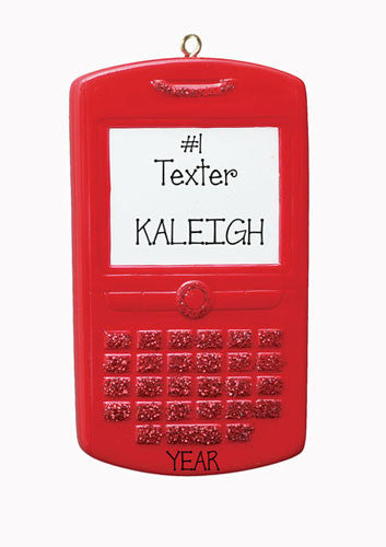 RED GLITTER CELL PHONE - Personalized Ornament