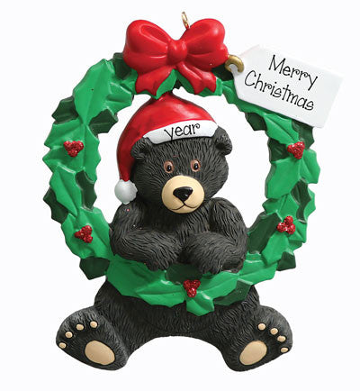 "Personalized ""BLACK BEAR WREATH"" Ornament"