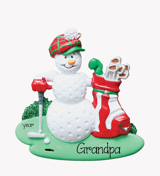 GOLFING SNOWMAN - Personalized Ornament