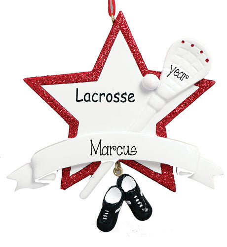 LACROSSE WITH A RED GLITTER TRIMMED STAR ORNAMENT / MY PERSONALIZED ORNAMENTS
