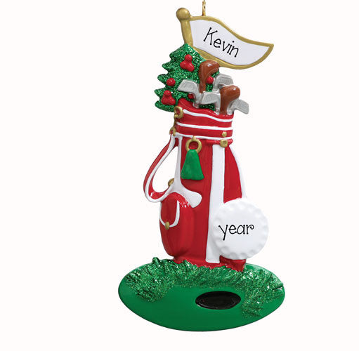 GOLF BAG and CLUBS - Personalized Ornament
