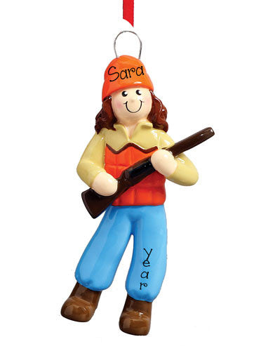BRUNETTE FEMALE HUNTING DRESSED IN ORANGE ORNAMENT / MY PERSONALIZED ORNAMENTS