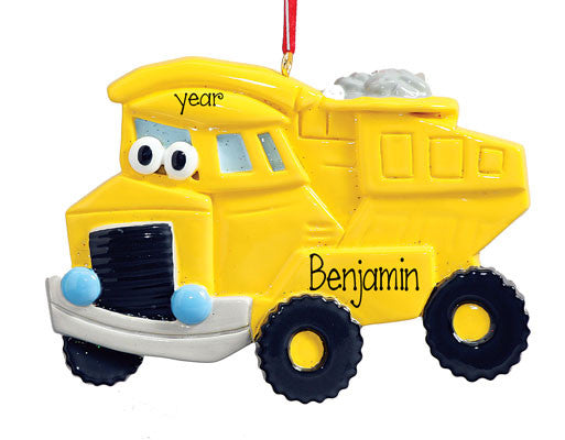 YELLOW DUMP TRUCK - Personalized Ornament