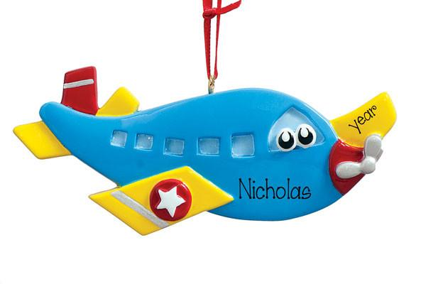 BLUE AIRPLANE w/ Eyes - Personalized Ornament