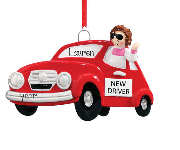 BRUNETTE GIRL ,NEW DRIVER WITH RED CAR ORNAMENT / MY PERSONALIZED ORNAMENTS