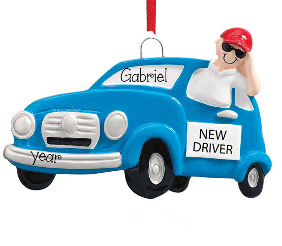 MALE NEW DRIVER in BLUE CAR - ORNAMENT