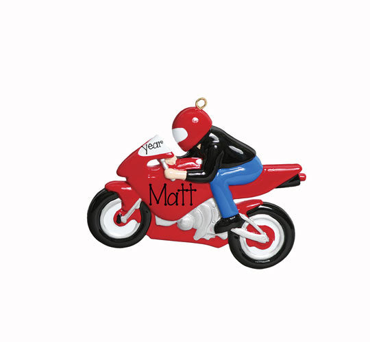 Red Motorcycle - Personalized Ornament