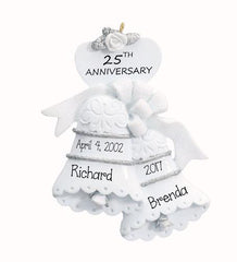25TH WEDDING ANNIVERSARY TRIMMED IN SILVER ORNAMENT / MY PERSONALIZED ORNAMENTS