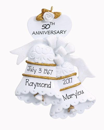 50TH WEDDING ANNIVERSARY TRIMMED IN GOLD ORNAMENT / MY PERSONALIZED ORNAMENTS
