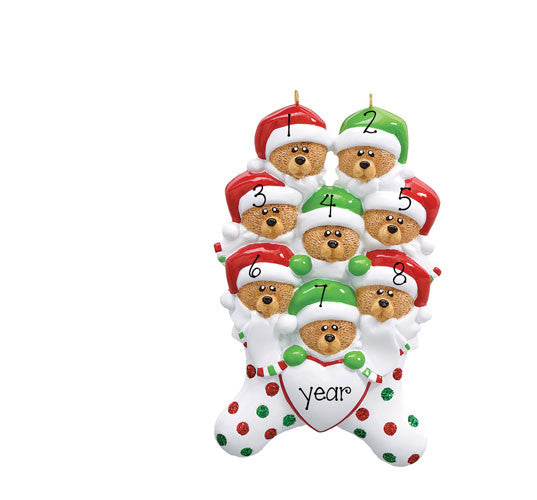 FAMILY OF 8 BEAR IN STOCKING ORNAMENT