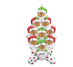 FAMILY OF 9 BEAR IN STOCKING ORNAMENT / MY PERSONALIZED ORNAMENTS