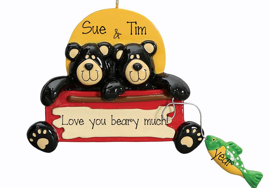 BLACK BEAR FISHING COUPLE - Personalized Ornament