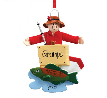 FISHERMAN WITH FISH AND POLE FOR GRANDPA / MY PERSONALIZED ORNAMENTS