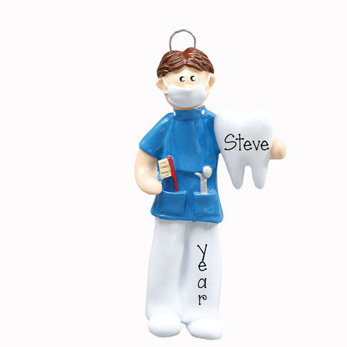BRUNETTE MALE DENTAL HYGIENIST ORNAMENT / MY PERSONALIZED ORNAMENTS