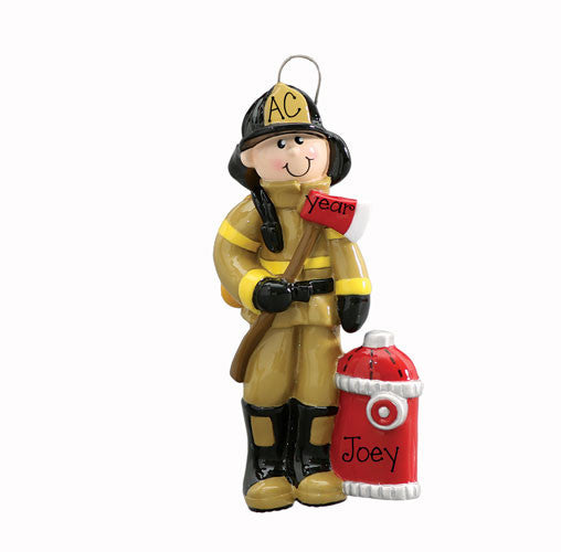 FIREMAN w/ AXE and HYDRANT - Ornament
