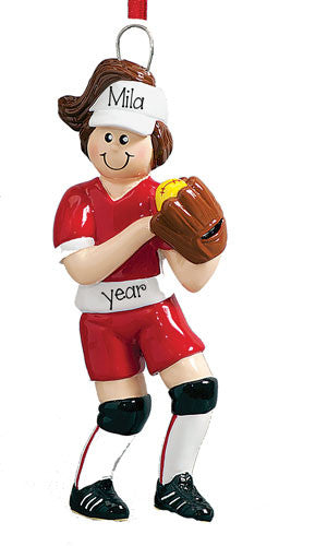 SOFTBALL PLAYER w/ BALL and GLOVE - ORNAMENT