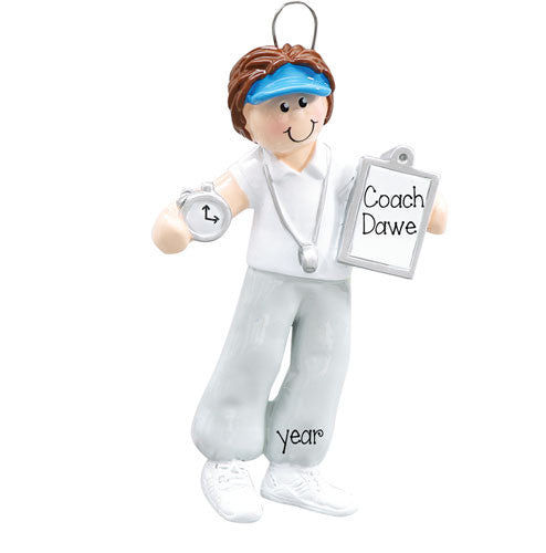 BRUNETTE FEMALE COACH ORNAMENT / MY PERSONALIZED ORNAMENTS