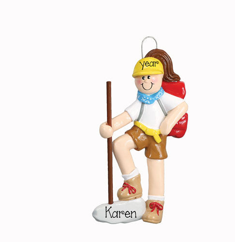 FEMALE HIKER ORNAMENT