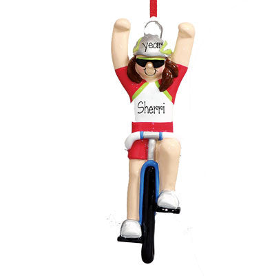 FEMALE CYCLIST - Personalized Ornament