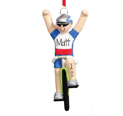MALE CYCLIST - Personalized Ornament