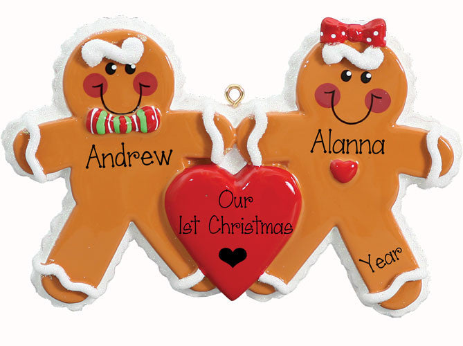 GINGERBREAD COUPLE 1 ST CHRISTMAS / PERSONALIZED ORNAMENT
