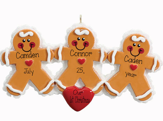 Gingerbread Triplets Personalized Ornament