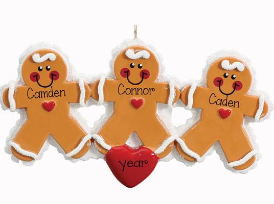 GINGERBREAD Family of 3~Personalized Christmas Ornament