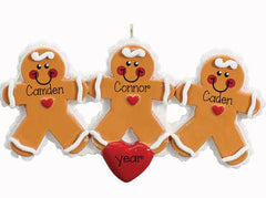 GINGERBREAD FAMILY OF 3/ 3 FRIENDS/ 3 GRANDKIDS ORNAMENT / MY PERSONALIZED ORNAMENTS