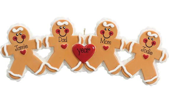 4 Gingerbread for Family, Grandkid, Friends Ornament