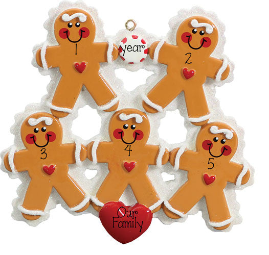 FAMILY OF 5 GINGERBREAD ORNAMENT / MY PERSONALIZED ORNAMENTS