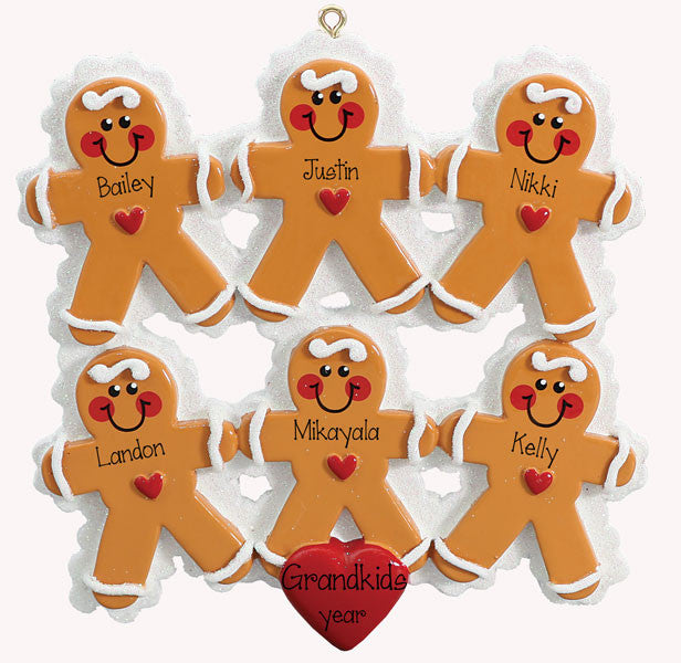 GINGERBREAD~Family of 6~Personalized Christmas Ornament