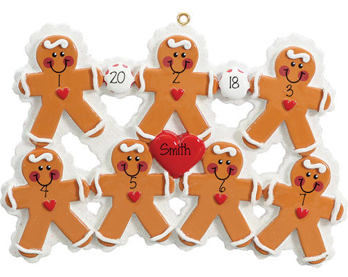 GINGERBREAD~Family of 7~Personalized Christmas Ornament