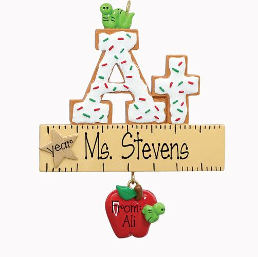 At TEACHER~Personalized Christmas Ornament