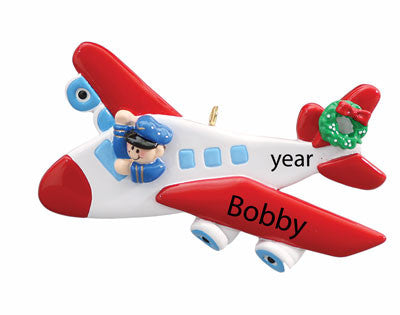 "Personalized Red Wing ""AIRPLANE"" Ornament"