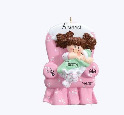 "Personalized ""BIG SISTER in PINK CHAIR"" Ornament"