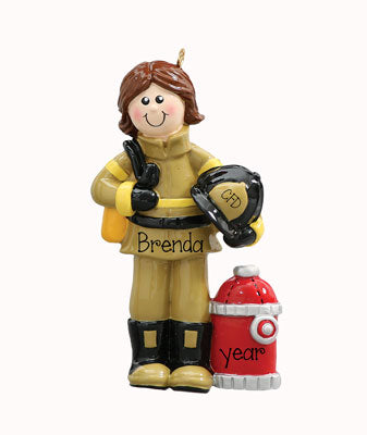 FEMALE FIREFIGHTER BRUNETTE, MY PERSONALIZED ORNAMENTS