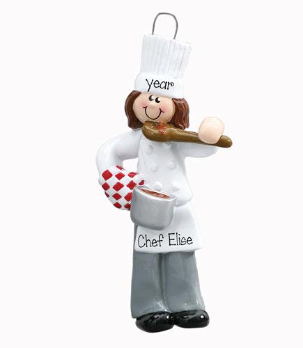 CHEF OR COOK Female Personalized Ornament