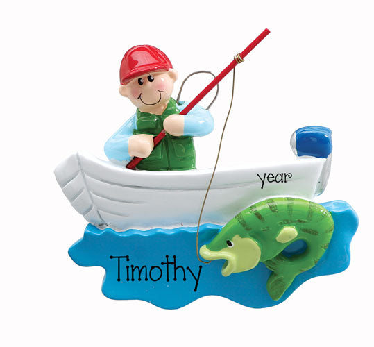 FISHERMAN WITH FISH AND POLE AND BOAT / MY PERSONALIZED ORNAMENTS