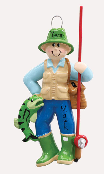 FISHERMAN w/ FISH - Personalized Ornament