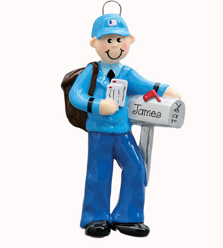 MAILMAN with MAILBOX~Personalized Christmas Ornament