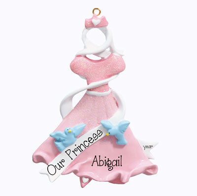 "Personalized ""PINK PRINCESS DRESS"" Ornament"