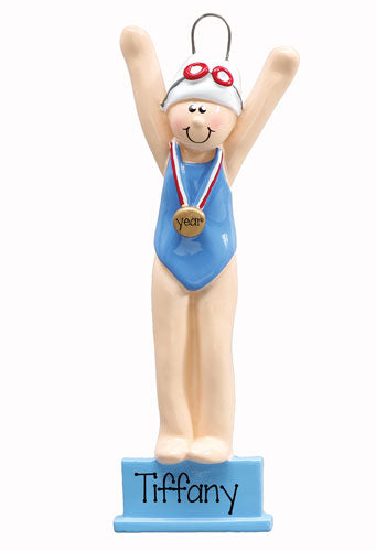 female swimmer ornament, MY PERSONALIZED ORNAMENTS
