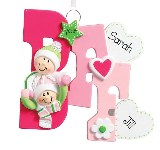BFF FOR TWO ALL IN PINK ORNAMENT, My Personalized Ornaments