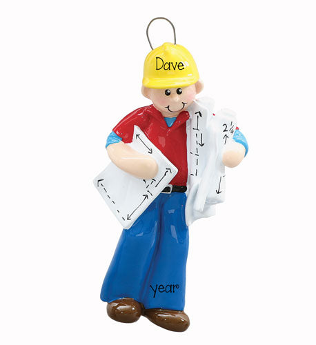 CONSTRUCTION MAN, ARCHITECTURE,  MY PERSONALIZED ORNAMENT