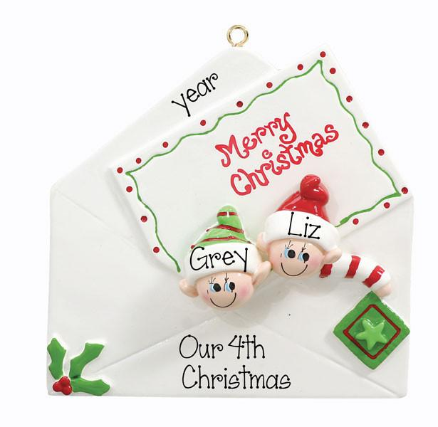 CHRISTMAS CARD COUPLE - Personalized Ornament