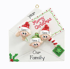 CHRISTMAS CARD Family of 3~Personalized Christmas Ornament