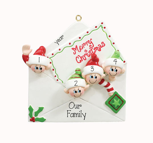 CHRISTMAS CARD WITH 4 ORNAMENT, 4 FRIENDS, 4 GRANDKIDS, SINGLE PARENT WITH 3 KIDS / MY PERSONALIZED ORNAMENT